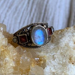 Jewelry - Nicky Butler Sterling Silver Moonstone Garnet Ring